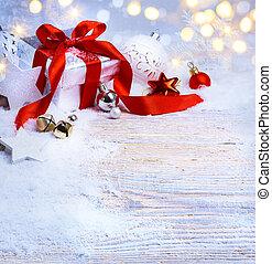 boks, piłki, sztuka, dar, świąteczny, drzewo, śnieg, tło, light;, boże narodzenie