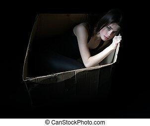 boks, pojęcie, przewrócić, dziewczyna, tektura, homeless.