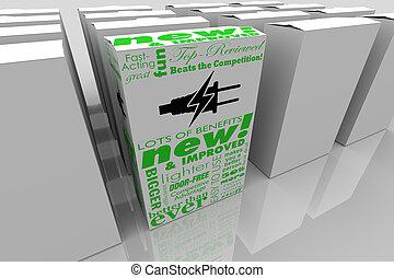 boks, produkt, służba, moc, elektryczność, energia, ilustracja, zielony, czysty, alternatywa, odnawialny, 3d