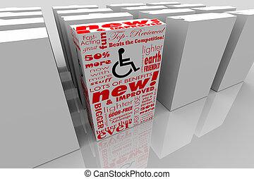 boks, produkt, transakcja, wheelchair, inwalidztwo, ilustracja, niepełnosprawny, osoba, symbol, najlepszy, 3d