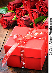 boks, róże, czerwony, dar, valentine