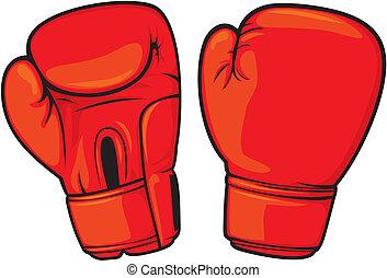 boks rękawiczki, czerwony