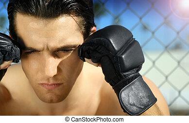 boks rękawiczki, młody mężczyzna