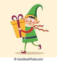 boks, rzucać się, dar, rozwieszenie, elf, dziecko, boże ...
