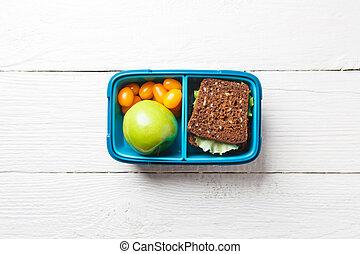boks, sandwicz, zdrowy, fotografia, jabłko, jadło, pomidor