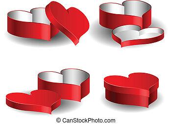 boks, serce, komplet, valentine, mający kształt