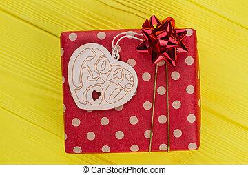 boks, serce, kropkowany, dar, mający kształt, wood., ged