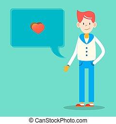 boks, serce, litera, ilustracja, valentine, wektor, projektować, modny, wiadomość, człowiek