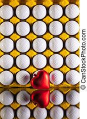 boks, serce, piłki, golf, jaja, czerwony