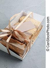 boks, sklep, handlowy, karcięta., ciasto, wyroby cukiernicze, asortyment