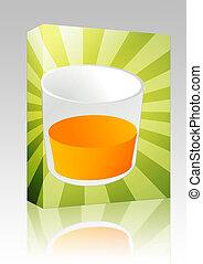 boks, sok, pomarańcza, szkło, pakunek