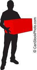 boks, sylwetka, deliveryman, transport, tło, biały