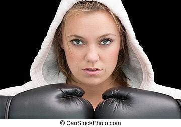 boks, szata, rękawiczki, chodząc, kobieta