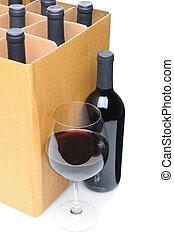 boks, szklane wino, butelka, przód