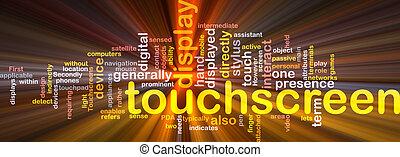 boks, touchscreen, słowo, chmura, pakunek