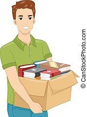 boks, transport, książki, człowiek