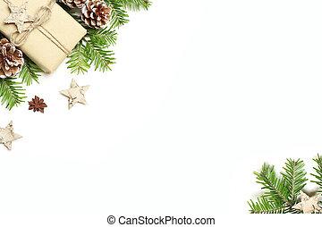 boks, ułożyć, jodła, przestrzeń, stożki, anyż, sosna, tło., gwiazdy, biały, skład, opróżniać, pień, płaski, image., świąteczny, tytułowany, kwiatowy, kopia, gałęzie, dar, drewniany, drzewo, boże narodzenie, pieśń, górny prospekt