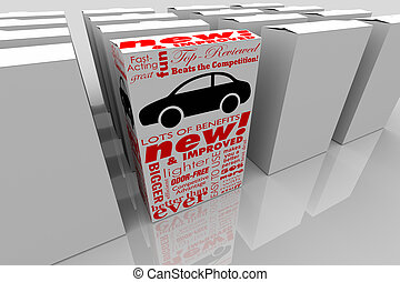 boks, ulepszony, wóz, samochód, ilustracja, wybór, pojazd, nowy wzór, najlepszy, 3d