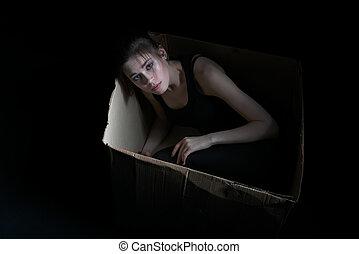 boks, wizerunek, młody, smutny, przedstawianie, dziewczyna, tektura