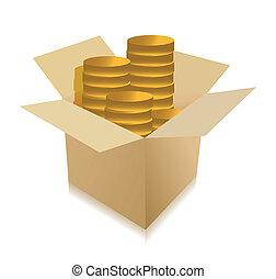 boks, wnętrze, monety, ilustracja