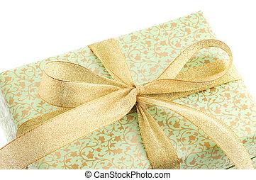 boks, wstążka, zielony, złoty, dar