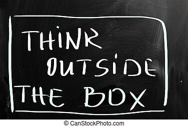 boks, zewnątrz, myśleć