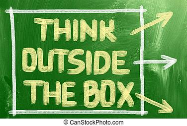 boks, zewnątrz, pojęcie, myśleć