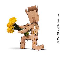 boks, zgięty, kwiaty, litera, kolano