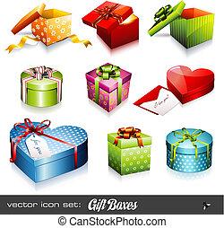 bokse, vektor, set:, gave