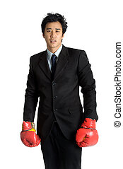 boksende glove, vrijstaand, man, kostuum