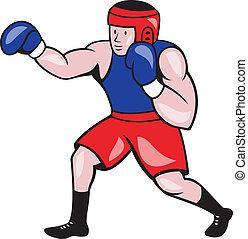 bokser, amateur, boxing, spotprent