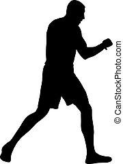 bokser, białe tło, sylwetka, czarnoskóry, atleta