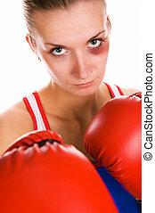 bokser, kobieta, kuć, jej, twarz