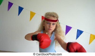 bokser, trening, ruch, gloves., boks, powolny, dziewczyna, ...