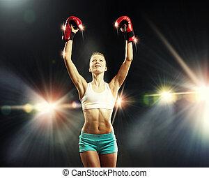bokser, vrouw, jonge