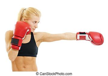 bokszoló, nő, noha, piros ökölvívás kesztyű