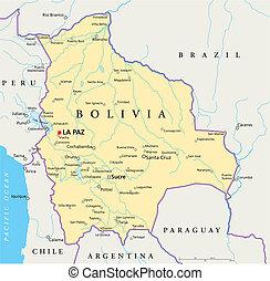 bolívia, político, mapa