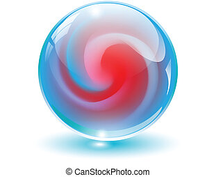 bol, 3d, kristal, vector., glas