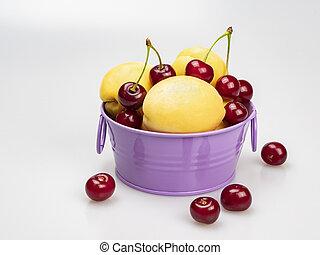bol, arrière-plan., cerises, mûre, lilas, jaune, abricots, blanc, près