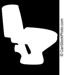 bol, blanc, silhouette, toilette