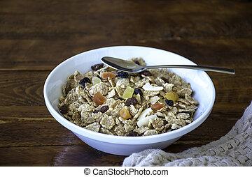 bol, cuillère, entiers, céréales, muesli