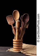 bol, cuillères, table, ustensiles, cuisine, bois, divers