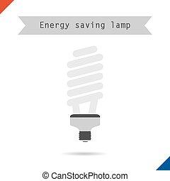 bol, energie, besparing, lamp ikoon