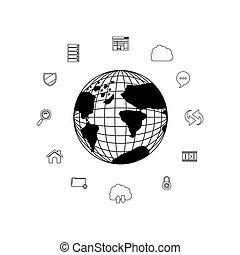 bol, globaal, ontwerp, vrijstaand