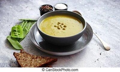 bol, gris, soupe, pois vert, crème