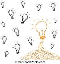 bol, handschrift, idee, licht