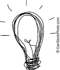 bol, handschrift, licht, idee, spotprent