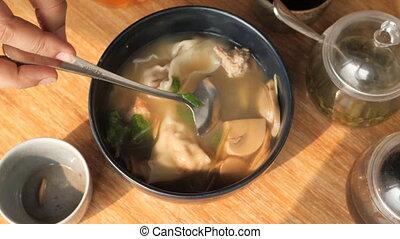 bol, haut fin, soupe légume