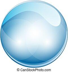 bol, illustratie, kristal, vector, ball., 3d