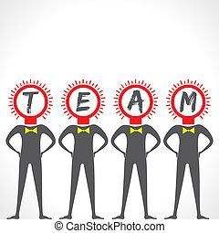bol, maken, team, zakenlieden, gezicht